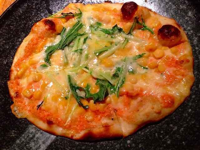 コーンと水菜のピザ.jpg